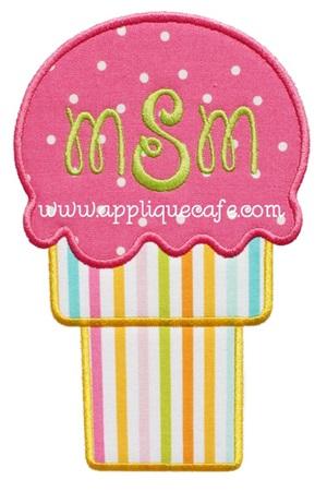 Ice Cream Cone 3 Applique Design