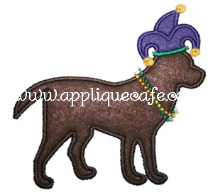 Mardi Gras Dog Applique Design