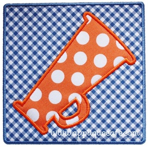 Megaphone Square Patch Applique Design