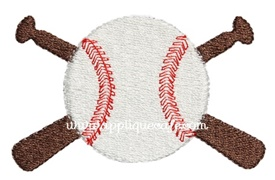 Mini Baseball and Bats Embroidery Design