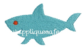 Mini Shark Embroidery Design