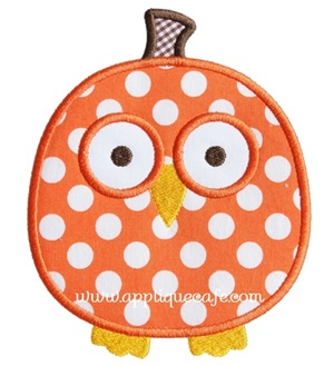 Pumpkin Owl Applique Design