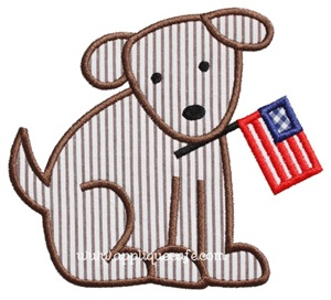 Patriotic Puppy Applique Design