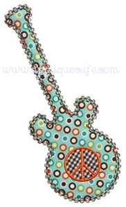 Peace Guitar Applique Design