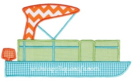Pontoon Boat Applique Design