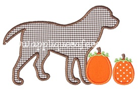 Pumpkin Dog Applique Design