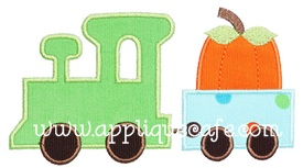 Pumpkin Train Applique Design