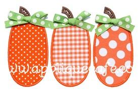 Pumpkin Trio Applique Design