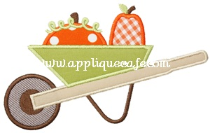 Pumpkin Wheelbarrow Applique Design