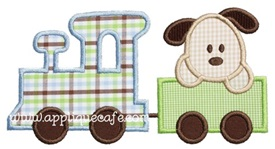 Puppy Train Applique Design
