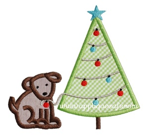 Puppy Tree Applique Design