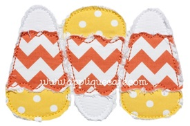 #671 Raggy Candy Corn Trio Applique Design