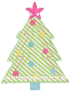 Raggy Christmas Tree Applique Design