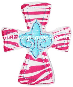 Raggy Fleur-de-lis Cross Applique Design