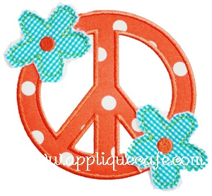Raggy Flower Peace Sign Applique Design