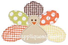 Raggy Turkey Applique Design