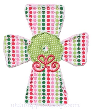 Raggy Wreath Cross Applique Design
