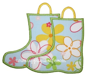 Rain Boots Applique Design