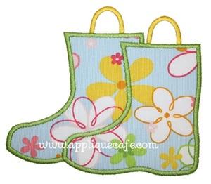 Rain Boots Applique Design