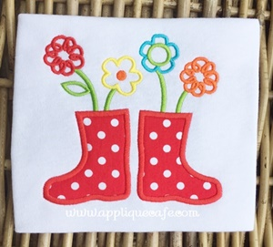 Rain Boots and Flowers Applique Design