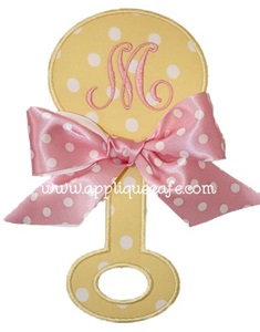 Baby Rattle Applique Design