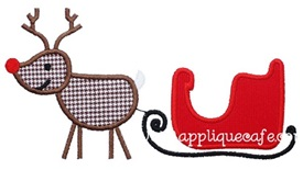 Reindeer and Sled Applique Design