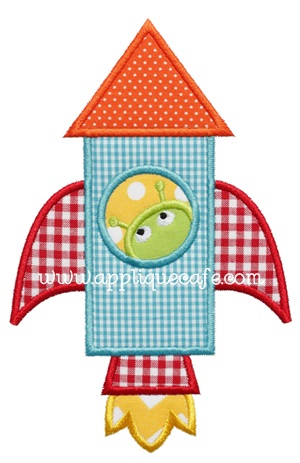 Rocket with Alien Applique Design