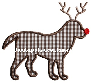 Rudolph Dog Applique Design