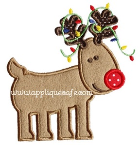 Rudolph with Lights Applique Design