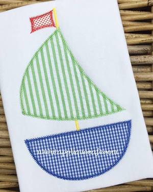 #1041 Sailboat 3 zig zag Applique Design