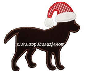 Santa Dog Applique Design