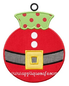 Santa Ornament Applique Design