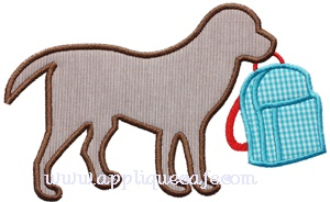School Dog Applique Design