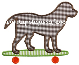 Skateboard Dog Applique Design