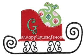 Christmas Sleigh Applique Design
