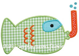 Snorkeling Fish Applique Design