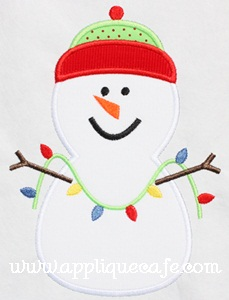 Snowman with Lights Applique Design