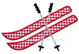 Snow Skis Applique Design