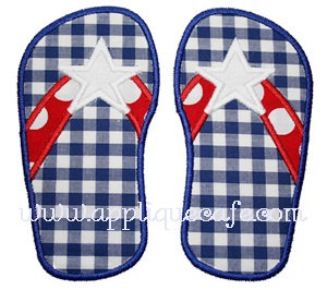 Star Flip Flops Applique Design