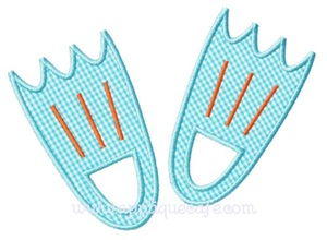 Swimming Fins Applique Design
