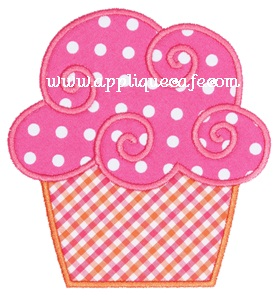 Swirly Cupcake Applique Design