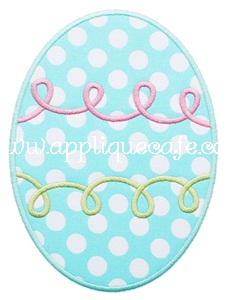 Swirly Easter Egg Applique Design