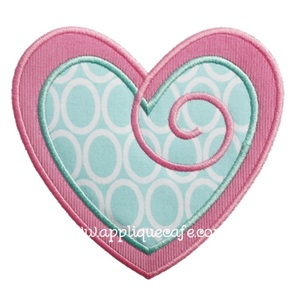 Swirly Heart 2 Applique Design