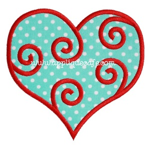 Swirly Heart Applique Design