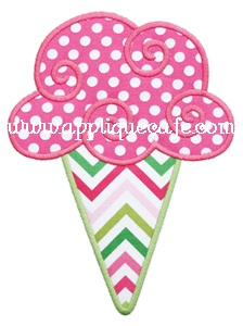 Swirly Ice Cream Cone Applique Design