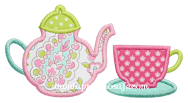 Teacup and Teapot Applique Design