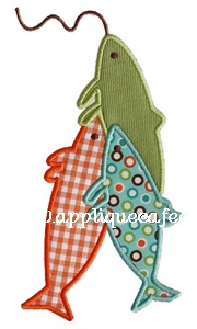 Three Fish Applique Design