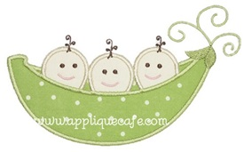 Triplet Pea Pod Applique Design