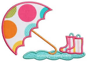 Umbrella and Rain Boots Applique Design