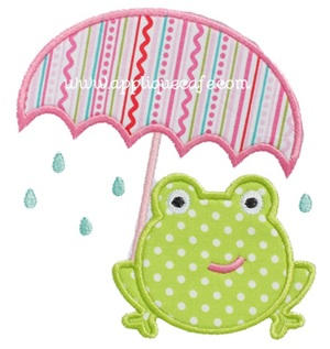 Umbrella Frog Applique Design